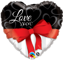 Love You Red Ribbon Large Foil Balloon 1pc